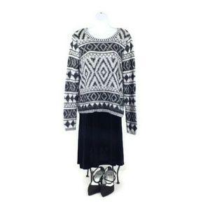 Lucky Brand Jacquard Black White Geo Print Sweater